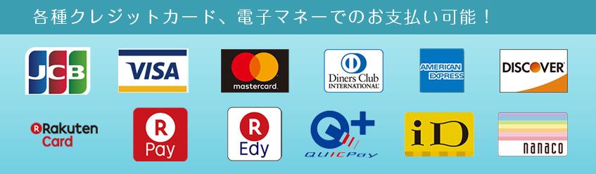 各種クレジットカード、電子マネーでのお支払いが可能です!